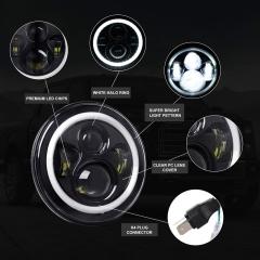 DOT SAE 7 بوصة مصابيح هالو لاند روفر ديفندر ملحقات المصابيح الأمامية مع شعاع منخفض عالي DRL بإشارة انعطاف