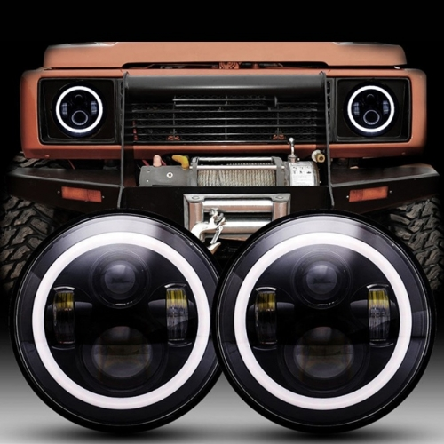 DOT SAE 7 inch Halo Lights Land Rover Defender Led Headlights Accessories with High Low Beam DRL Turn Signal