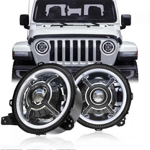 XNUMx pulzier 9 Jeep Headlights Led Gladiator JT DOT SAE Led Halo Lights għall-2020 Jeep Gladiator JT