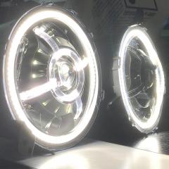 9 inci 2020 Jeep Lampu Depan Gladiator JT Led DOT SAE Led Halo Lights untuk tahun 2020 Jeep Gladiator JT