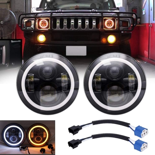 "DOT SAE 2003-2009 Hummer H2 Led Headlights Conversion 7"" Round Hummer H2 Halo Headlights Projector Replacement"
