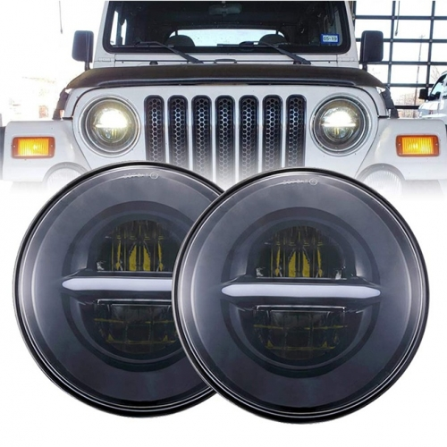 "7 ""Aftermarket Led Headlight for Jeep Wrangler JK / Hummer H2 / Harley Davidson / Fitaovana fiarakodia Royal Enfield misy adaptatera H4"