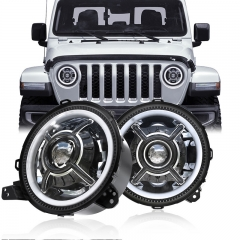 9 inch Round Headlights Led Halo Headlights for 2018 Jeep Wrangler JL Accessories