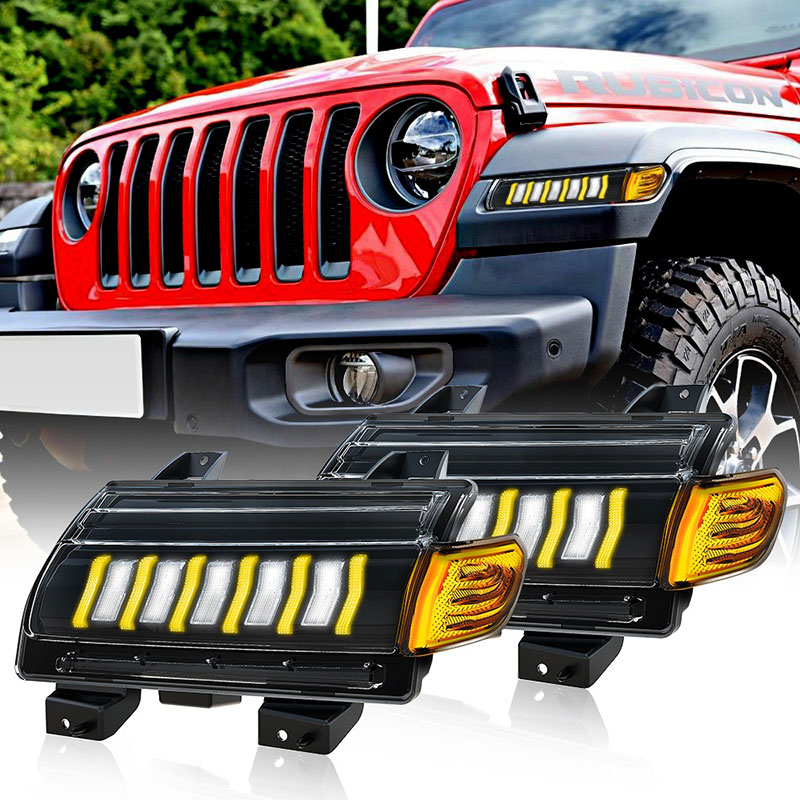 2018 Jeep Wrangler JL Led Daytime Running Lights Jeep JL Sequential Turn Signals for Sahara Rubicon Gladiator