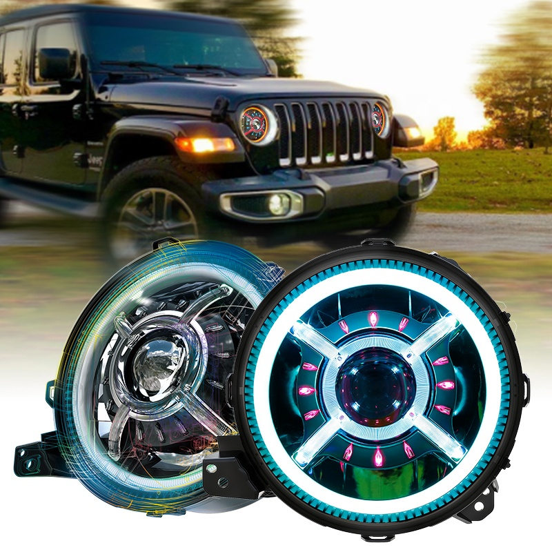 9 inch RGB Headlights Color Changing Halo Lights for Jeep Wrangler JL 2018 Up