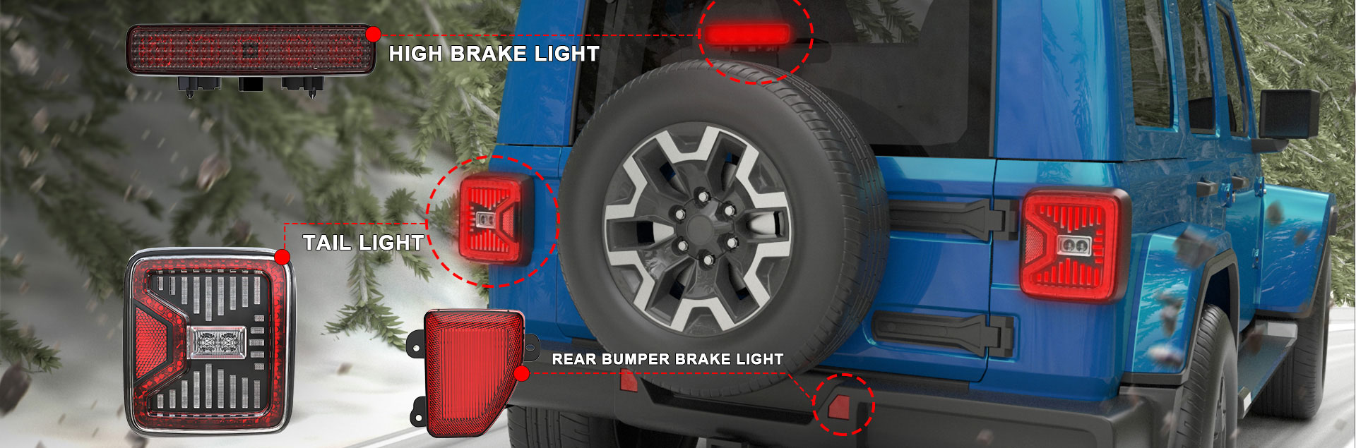Led Tail шамдары Jeep Wrangler JL 2018 2019