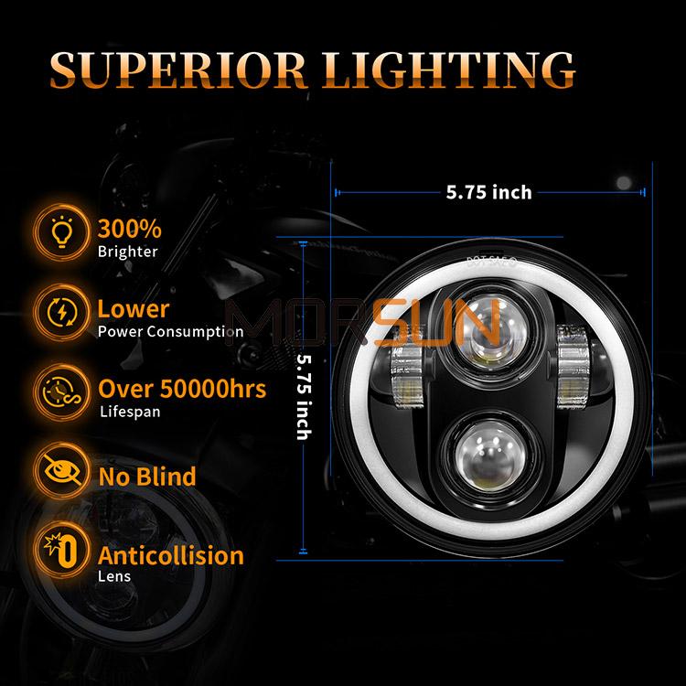 5.75 Harley Davidson Lampu Depan Led Pencahayaan Unggul