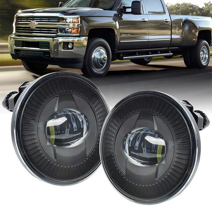 Black Chrome 2015 Chevy Silverado Led Fog Lights Round Led Auxiliary Driving Lights