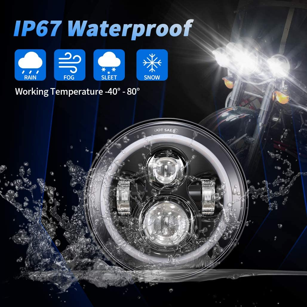IP68 Waterproof 7 inch Jeep Wrangler JK Headlights