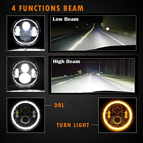 7 inch Jeep Wrangler JK Headlights 4 Beam Modes
