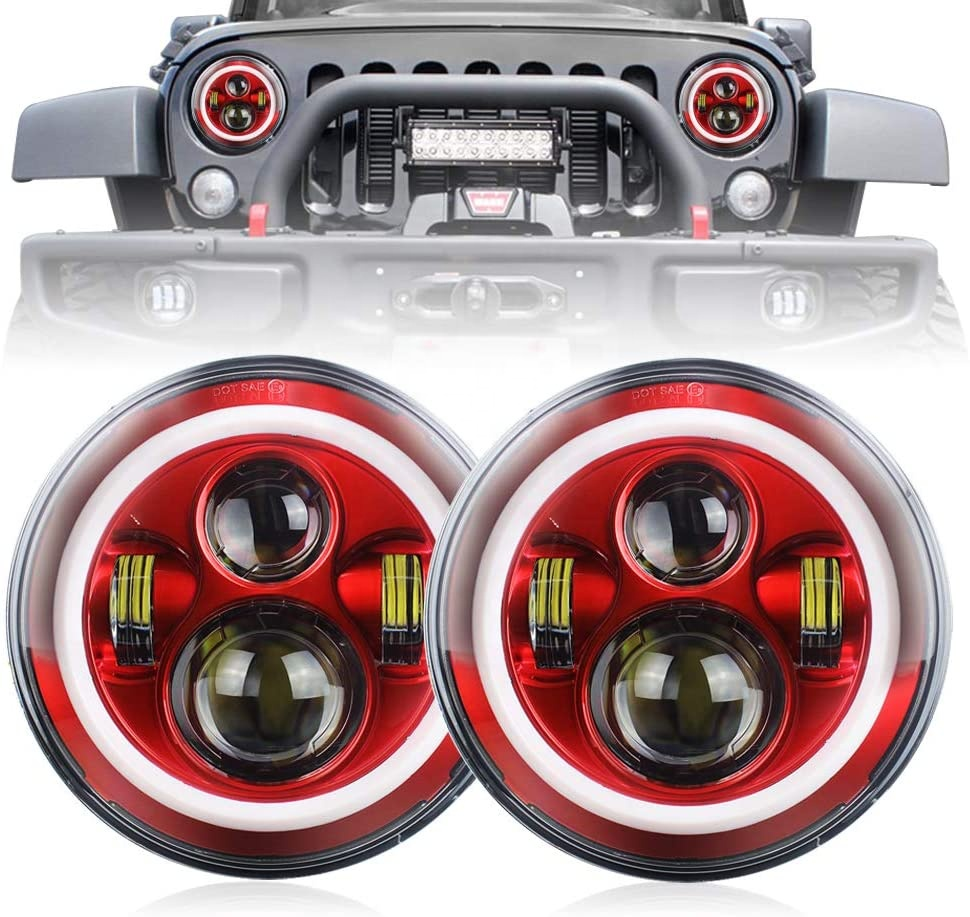 Humantong Red Halo Lights para sa Jeep Wrangler JK TJ LJ Red Halo Headlight Jeep Wrangler hi / lo Beam DRL