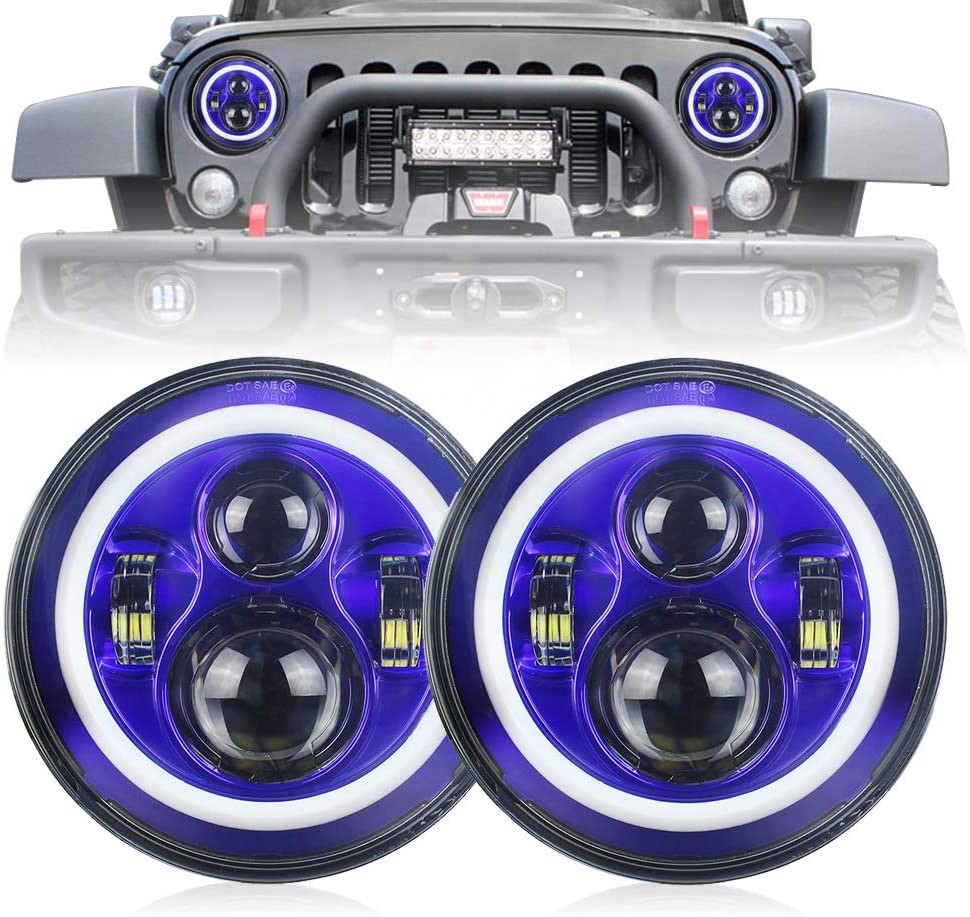 7 pulgada Led Blue Halo Lights para sa Jeep Wrangler Mga Headlight ng JK Blue Halo Jeep Wrangler Mga Kit ng Pagbabago