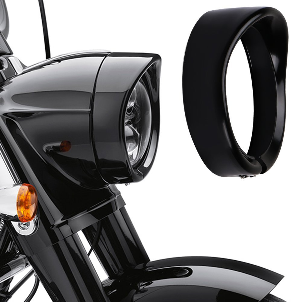 Harley Davidson Headlight Visor Trim Ring Black 7 pulgada Headlight Trim Ring Road King Softail