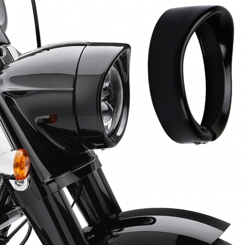 Harley Davidson Headlight Visor Trim Ring Black 7 inch Headlight Trim Ring Road King Softail