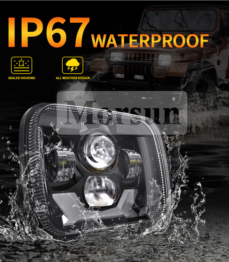 IP67 Biyo la'aan Jeep Cherokee XJ Led Headlights
