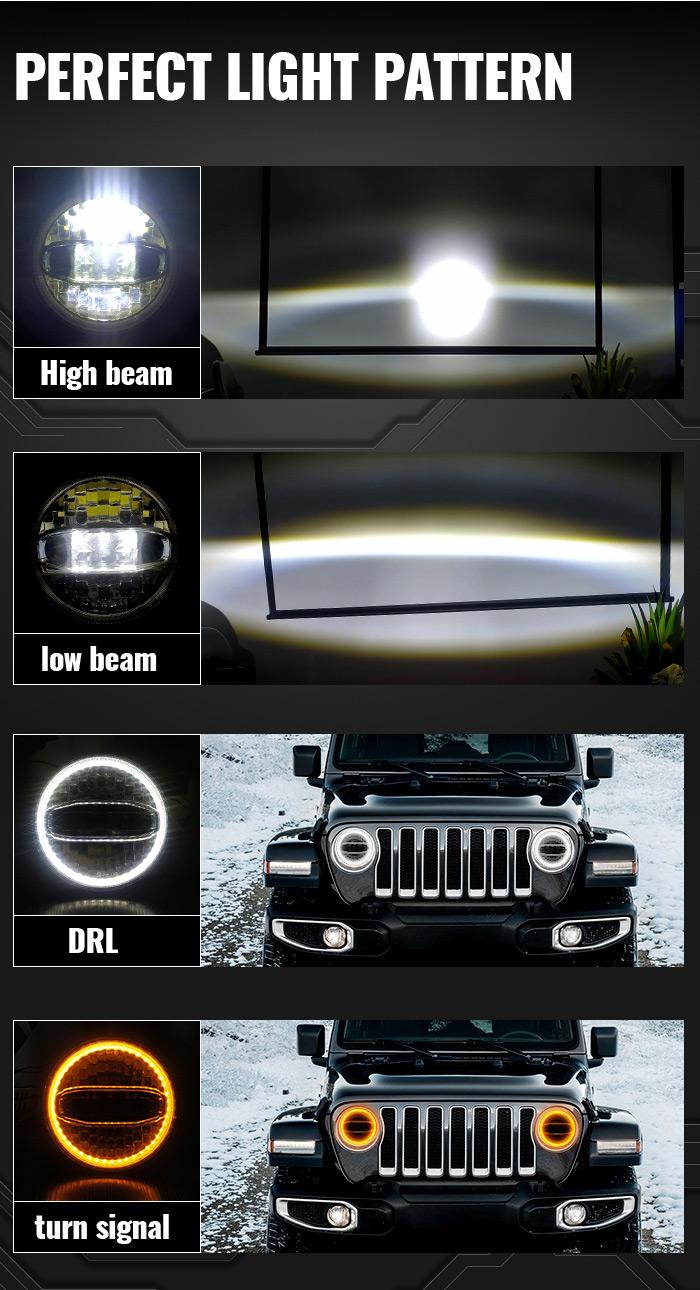Jeep Jk Oem Led-esituled Suure lähitulega DRL-suunatuled