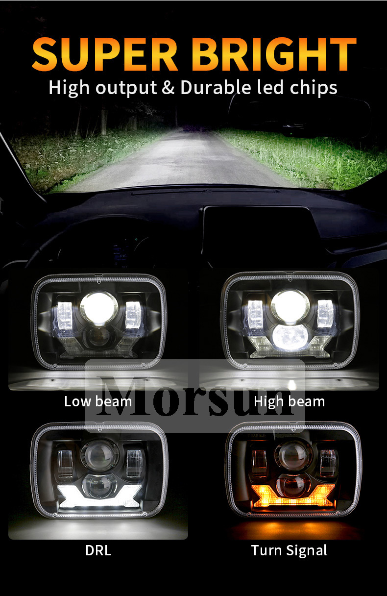 Jeep Cherokee XJ Led Headlights High Low Beam DRL Turn Signals