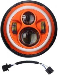 DOT 7英寸橙色光暈大燈LED橙色光暈燈 Jeep Wrangler JK 1997-2007