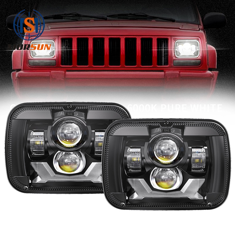5x7 Led Projector Laydhka Nalalka 1984-2001 Jeep Cherokee XJ Led Lights with High Low Beam DRL Turn Signaal