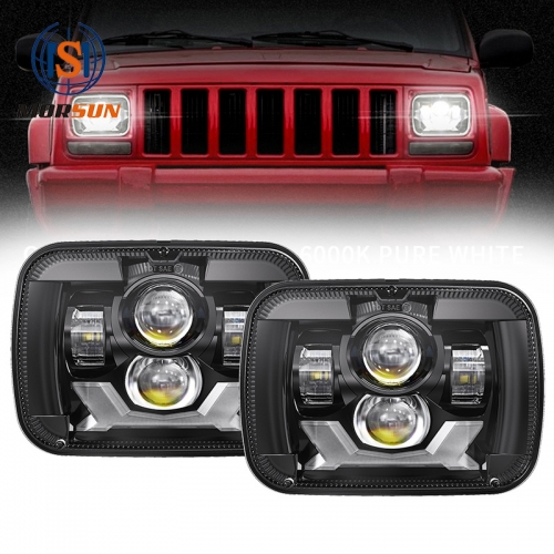 5x7 Led Projector Headlights 1984-2001 Jeep Cherokee XJ Led Headlights with High Low Beam DRL Turn Signals