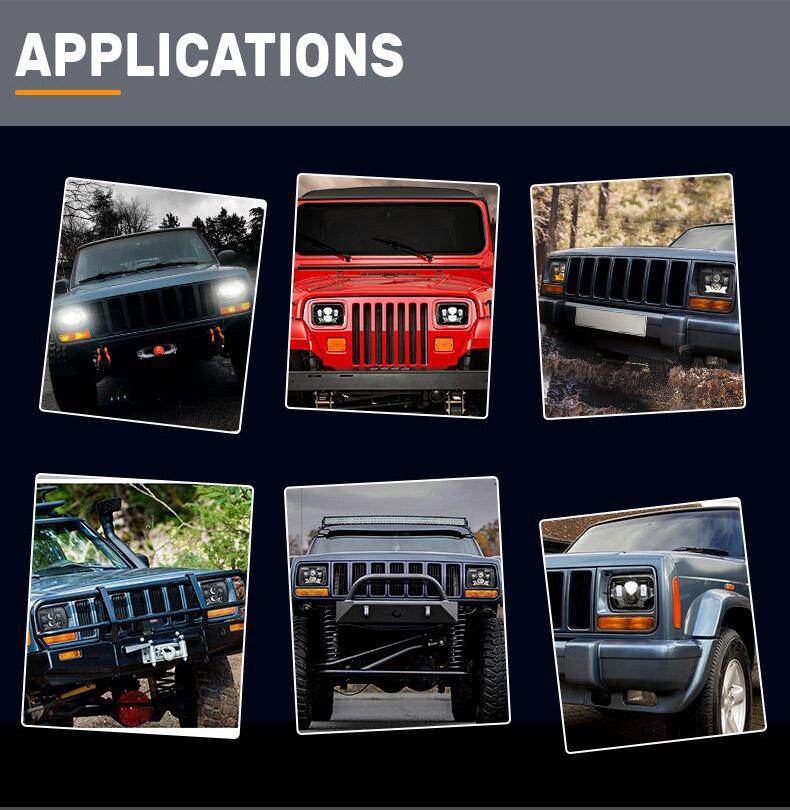 Jeep Aplikasi Lampu Depan Led Cherokee XJ
