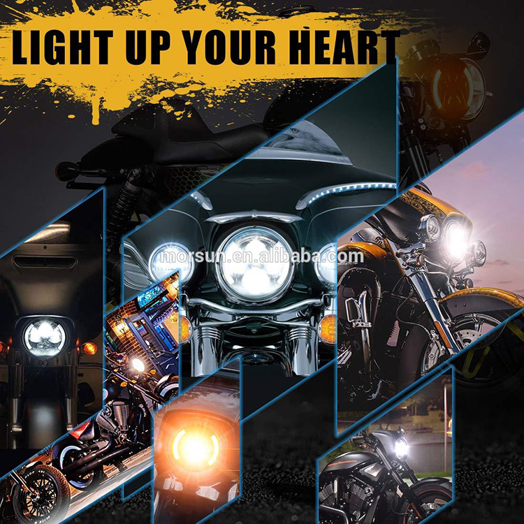 Motorcycle Headlight with Integrated Turn Signals