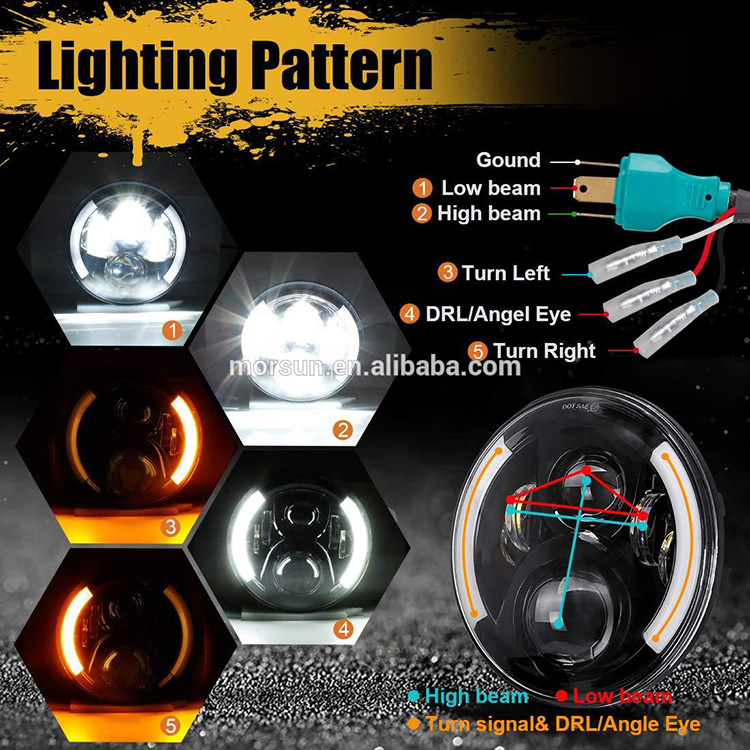Light Pattern of  Motorcycle Headlight with Integrated Turn Signals