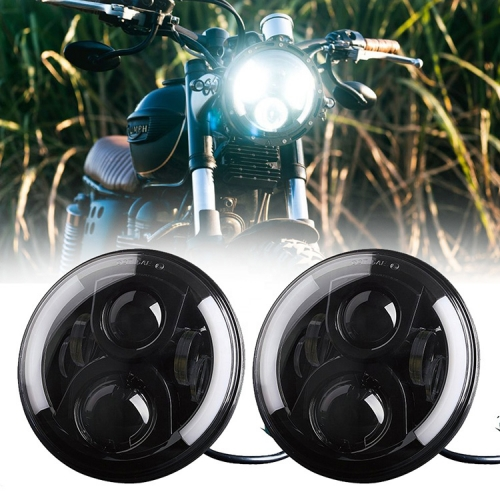 7 Round Led Headlight with Turn Signal Built in Motorcycle Headlight with Integrated Turn Signals
