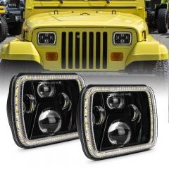 5x7 Dritat e Projektorit me Rreze të Vulosur Jeep Fenerët YJ Halo Dritat Sheshi Wrangler