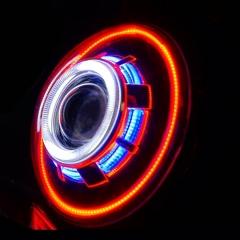 Jeep المصابيح الأمامية JK Hid Jeep Wrangler المصابيح الأمامية عين شيطان المصابيح الأمامية زينون ثنائية