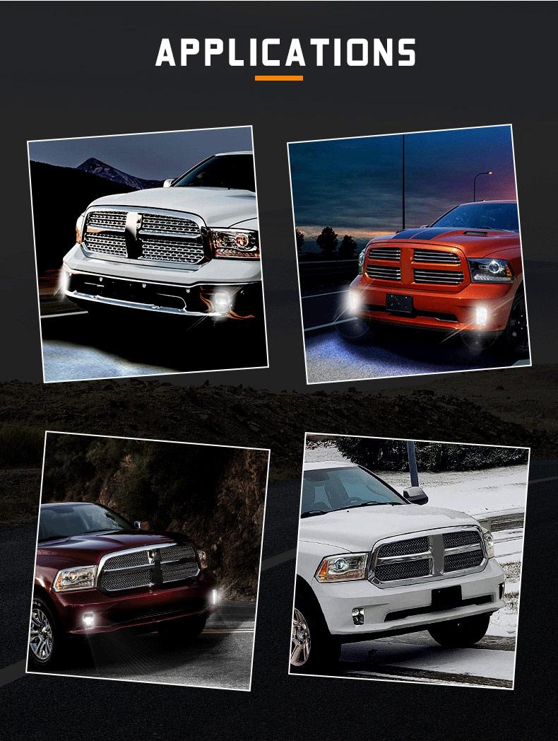 2013-2018 Dodge Ram 1500 Aplikasi Lampu Kabut Led