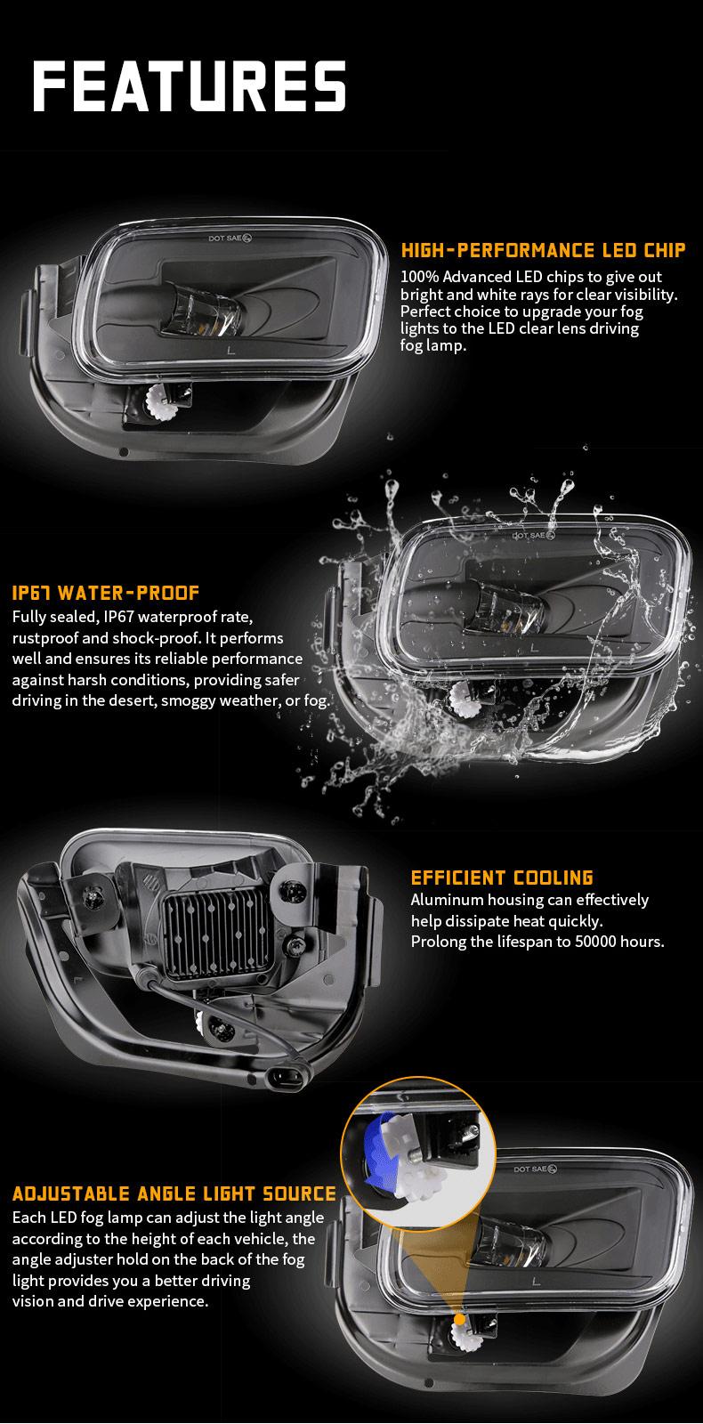 Caractéristiques des phares antibrouillard Dodge Ram 1500 2500 3500 LED