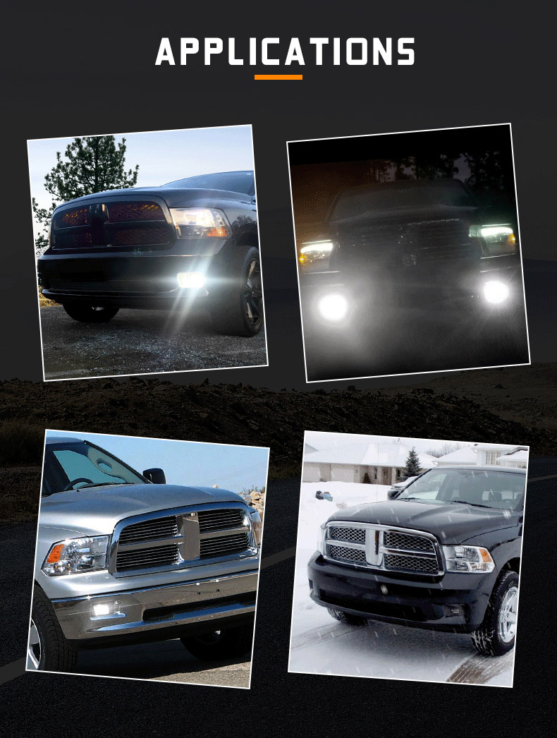 Dodge Ram 1500 2500 3500 Applications de feux antibrouillard LED