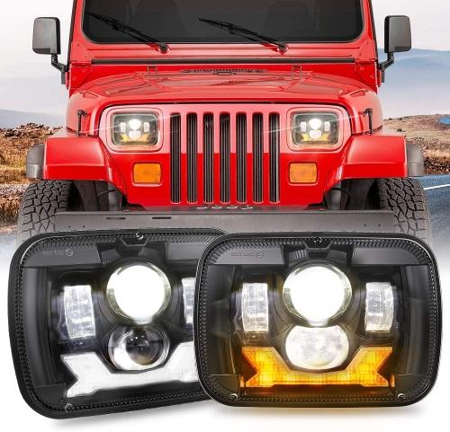 1987-1995 Jeep Wrangler Lampu Depan Kotak 5x7 Lampu Depan Proyektor YJ Led Headlights