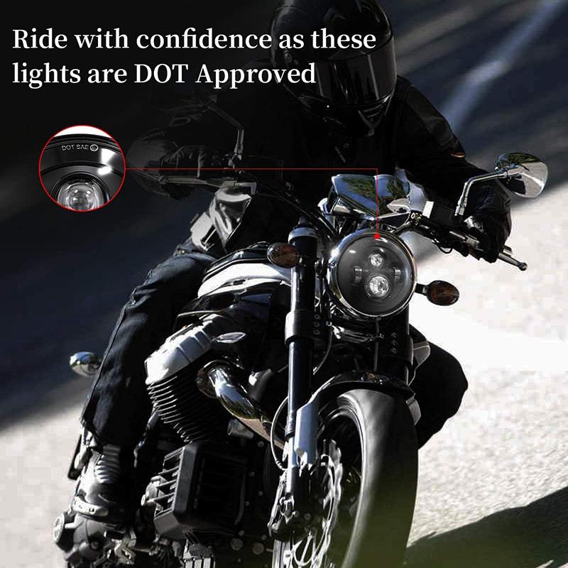 Phares à LED de moto 7 pouces