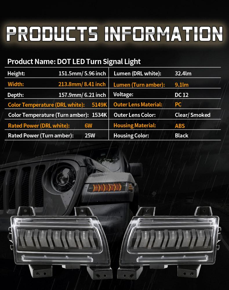 Jeep Spécifications des clignotants à led JL