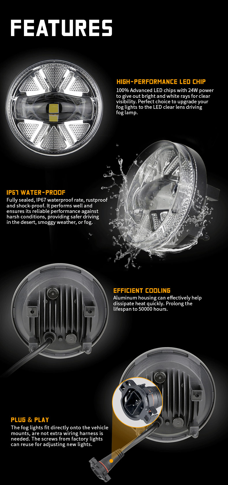 Caractéristiques des phares antibrouillard à DEL GMC Sierra 1500