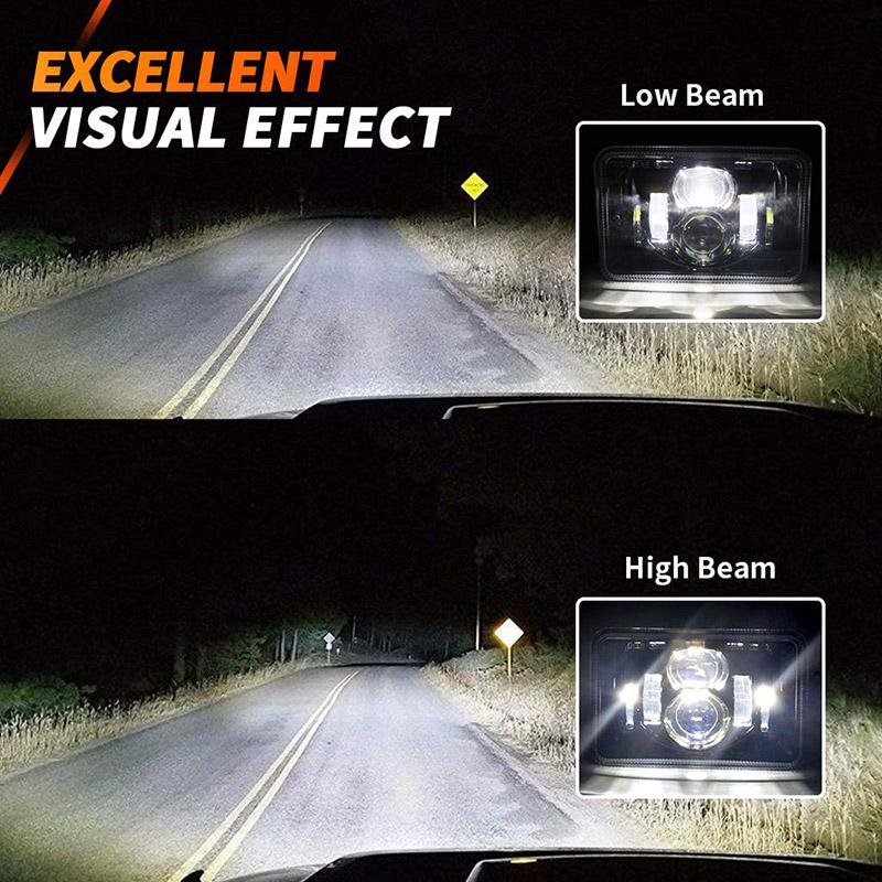 4x6 phares à led feux de route feux de croisement