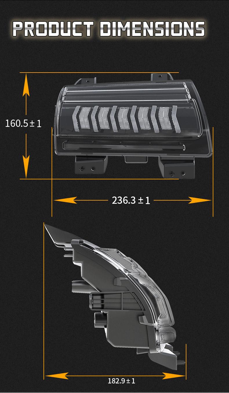 Jeep Dimensions des clignotants séquentiels JL
