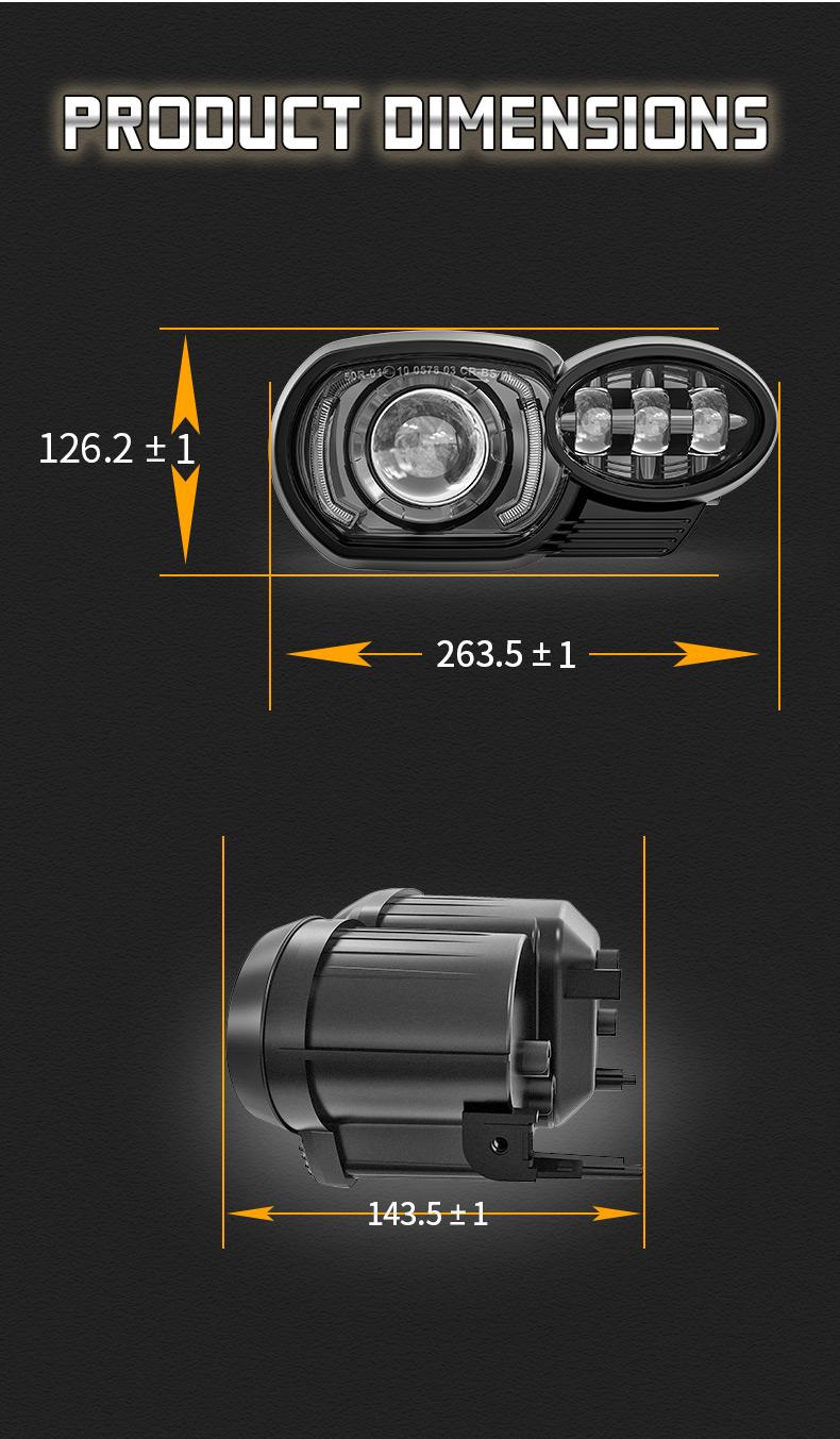 BMW K1200R K1300R LED Dimensión de los faros delanteros