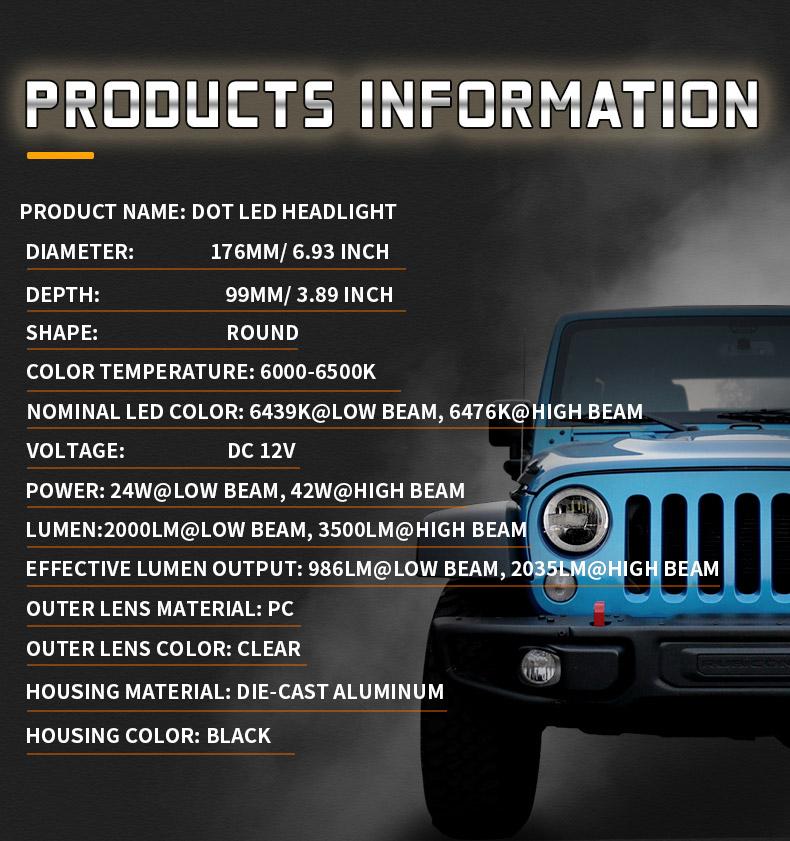 Jeep Spécification des phares à LED JK