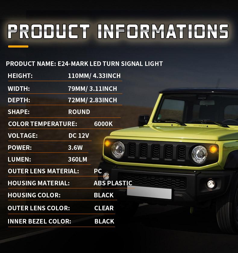 Especificación de las señales de giro delanteras LED Suzuki Jimny