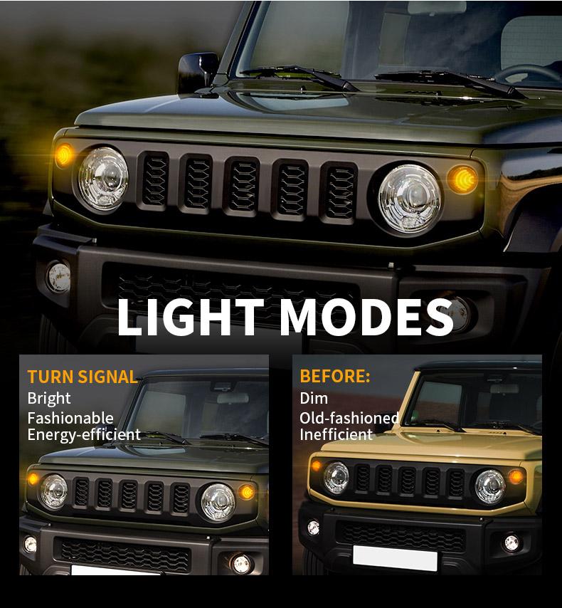 Modos de luz de señales de giro delanteras LED de Suzuki Jimny