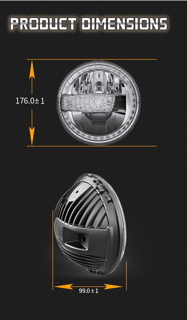 Jeep Dimensions des phares à LED JK