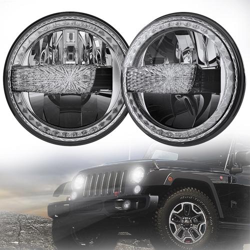 2007-2017 Jeep Wrangler Konvertimi i Fenerëve të udhëhequr nga JK Jeep JKU Dritat e Led me DRL të Bardhë