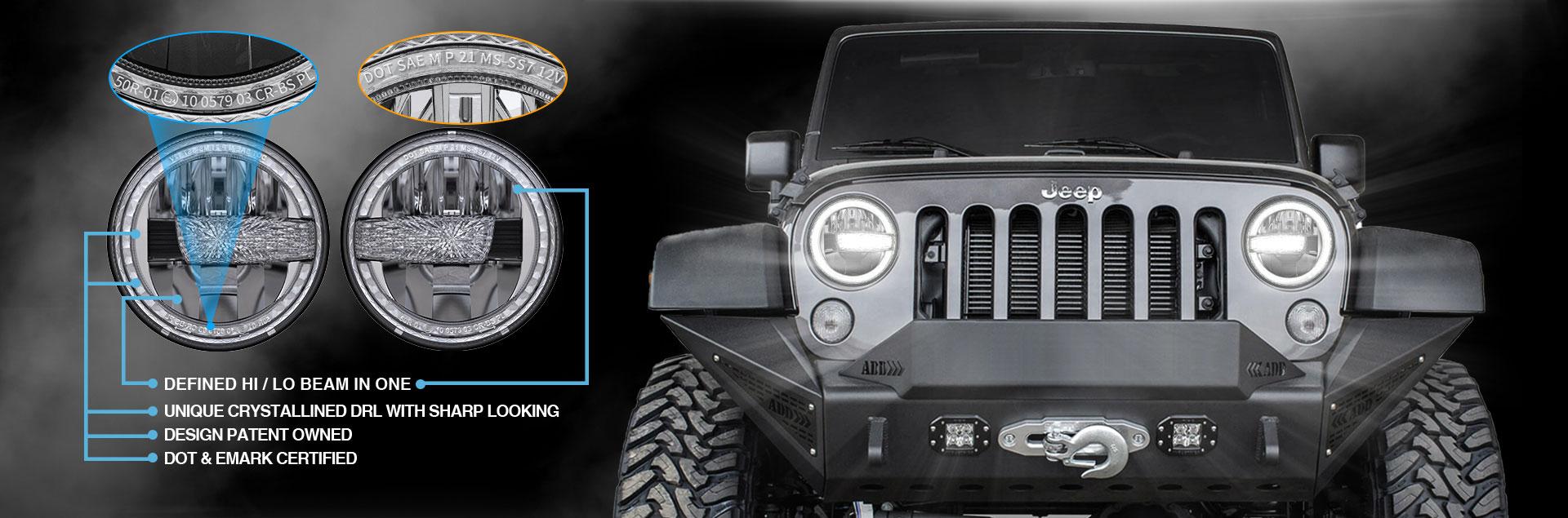 Bagong Arrival 2007-2017 Jeep Wrangler Nag-LED Headlight si JK