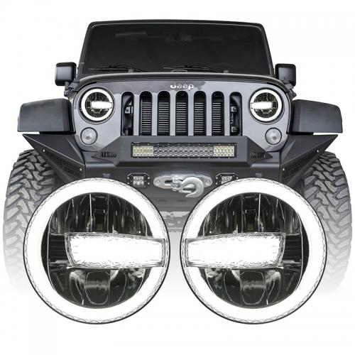 2007-2017 Jeep Wrangler Pinangunahan ng JK ang Pagbabago ng Mga Headlight Jeep Humantong ang mga Headlight ng JKU na may Puting DRL