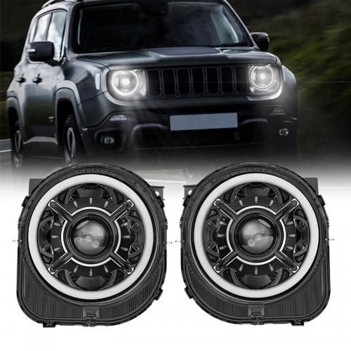 2018-2020 Jeep Mise à niveau des phares à LED Renegade Jeep Remplacement des phares Renegade Halo