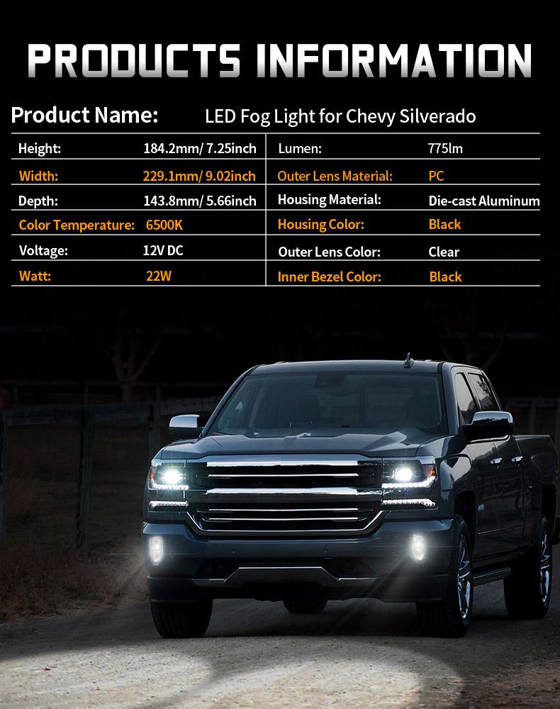 Specification of Chevy Silverado 1500 Led Fog Lights
