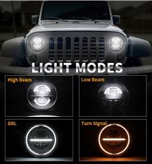 7 phares ronds à LED Halo pour 2010 Jeep Wrangler JK JKU avec clignotants Drl et Amber